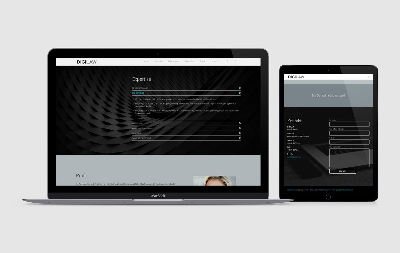 Internetseite für Digilaw - Rechtsanwaltskanzlei