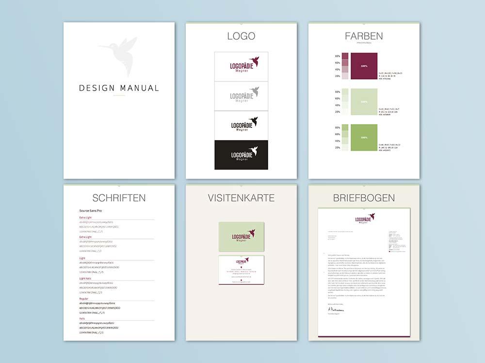 Logopädie Wagner in Arnstadt. Styleguide Design. Corporate Design. Grafikstudio in Erfurt/Thüringen. Werbeagentur in Erfurt