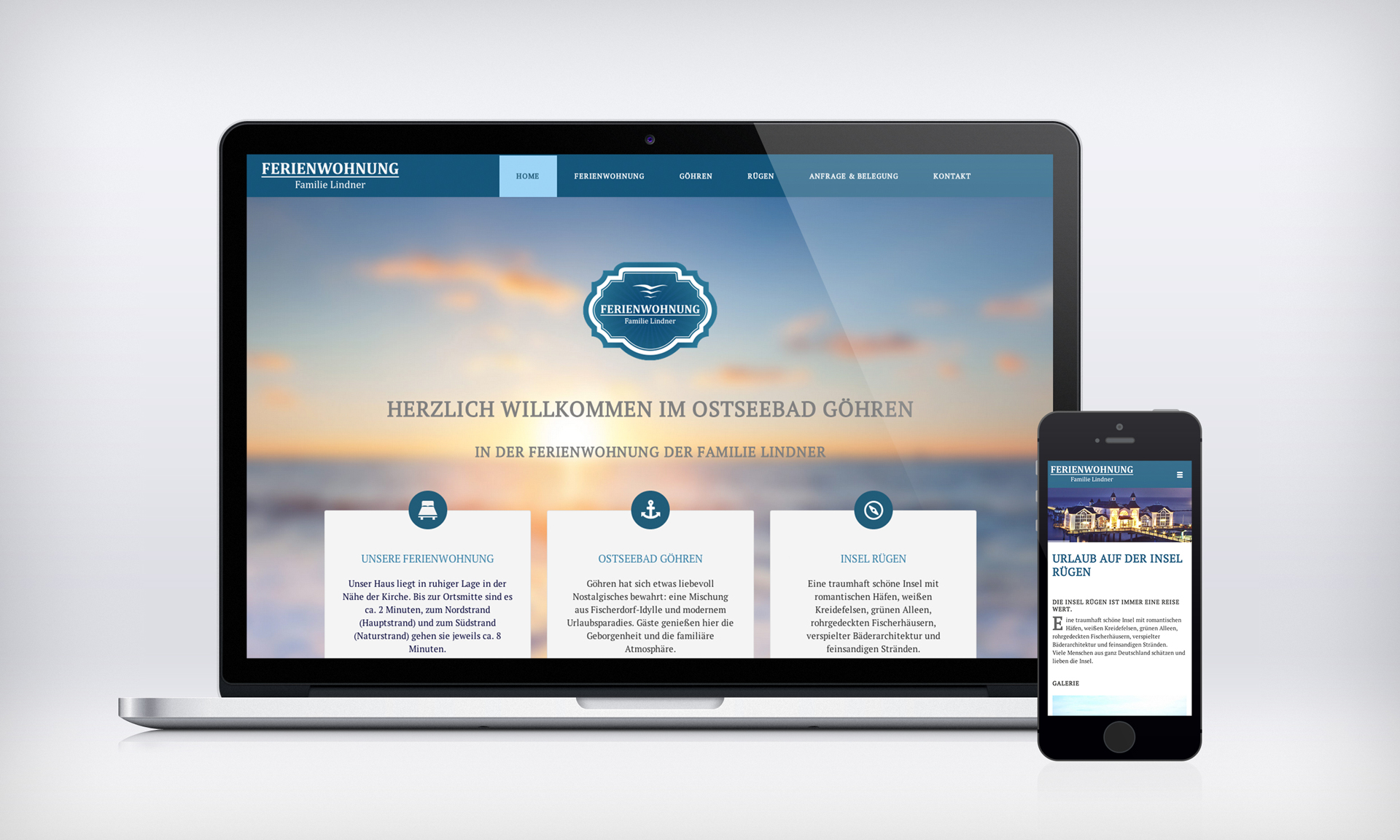 Webdesign der Ferienwohnung Lindner im Ostseebad Göhren auf Rügen