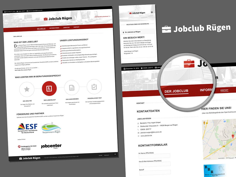 Neue Website vom Jobclub auf Rügen. Webseitengestaltung von LINDNER-DESIGN