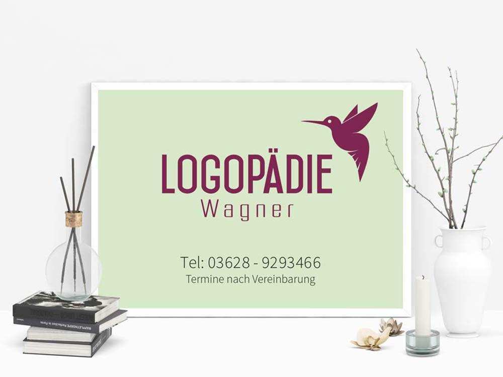 Logopädie Wagner in Arnstadt. Werbeschild Design. Corporate Design. Grafikstudio in Gera/Thüringen. Werbeagentur in Gera